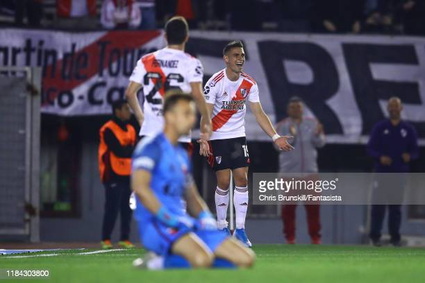 Rafael Santos Borre of River Plate celebrates scoring his side's second goal during a match between River Plate and Colón as part of Superliga...