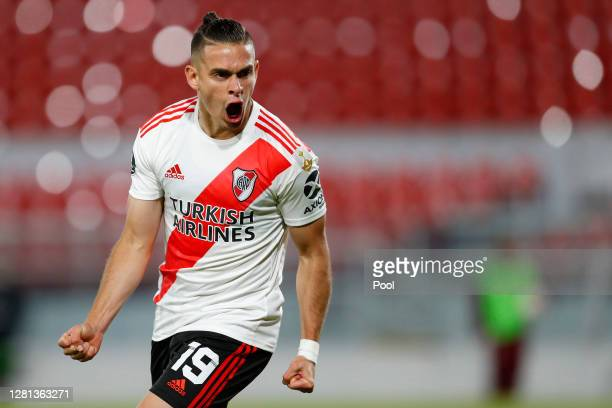 Rafael Santos Borre of River Plate celebrates the first goal of his team during a Group D match of Copa CONMEBOL Libertadores 2020 between River...