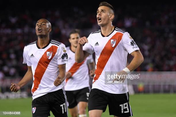 Rafael Santos Borre of River Plate celebrates with teammate Nicolas De La Cruz after scoring the third goal of his team during a quarter final second...