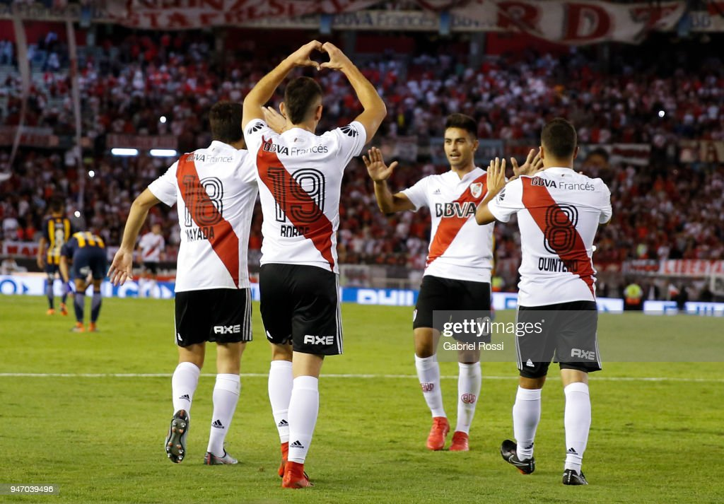 Rafael Santos Borre of River Plate celebrates with teammates after scoring the first goal of his team during a match between River Plate and Rosario Central as part of Superliga 2017/18 at Estadio Monumental Antonio Vespucio Liberti on April 15, 2018 in Buenos Aires, Argentina.