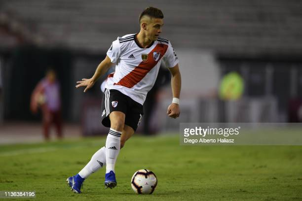 Rafael Santos Borre of River Plate drives the ball during a group A match between River Plate and Alianza Lima as part of Copa CONMEBOL Libertadores...