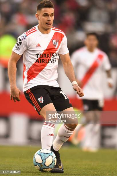 Rafael Santos Borre of River Plate drives the ball during a match between River Plate and Boca Juniors as part of Superliga 2019/20 at Estadio...