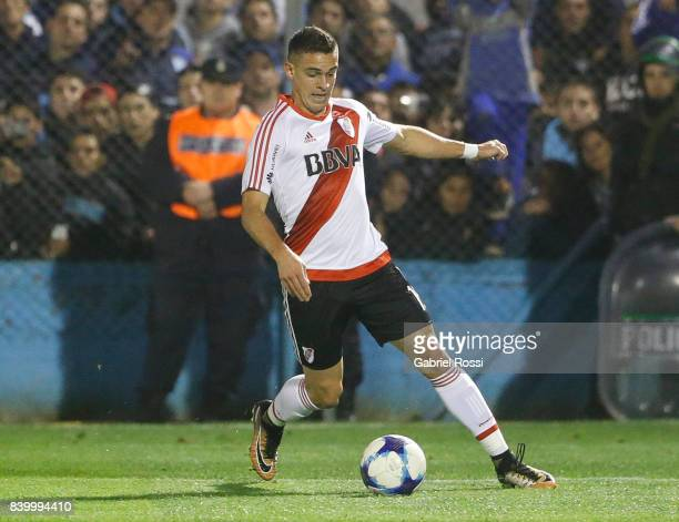 Rafael Santos Borre of River Plate drives the ball during a match between Temperley and River Plate as part of first round of Superliga 2017/18 at...