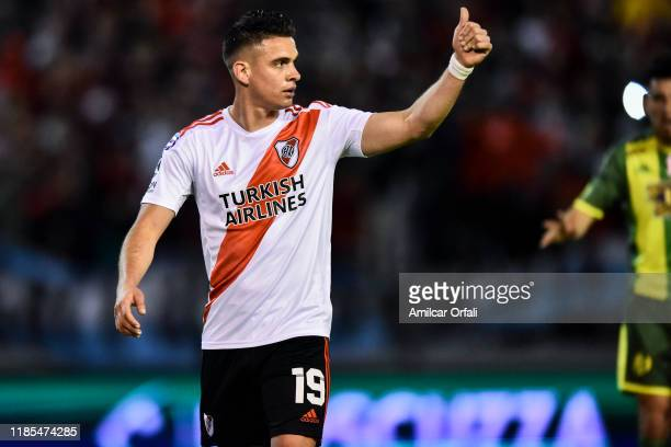 Rafael Santos Borre of River Plate during a match between Aldosivi and River Plate as part of Superliga Argentina 2019/20 at Estadio Jose Maria...