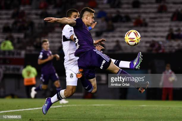 Rafael Santos Borre of River Plate kicks the ball during a match between River Plate and Gimnasia y Esgrima La Plata as part of Superliga 2018/19 at...