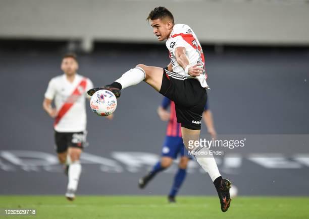 Rafael Santos Borre of River Plate kicks the ball during a match between River Plate and San Lorenzo as part of Copa de la Liga Profesional 2021 at...