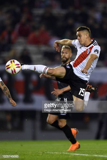 Rafael Santos Borre of River Plate makes a shot during a match between River Plate and Argentinos Juniors as part of Superliga Argentina 2018/19 at...