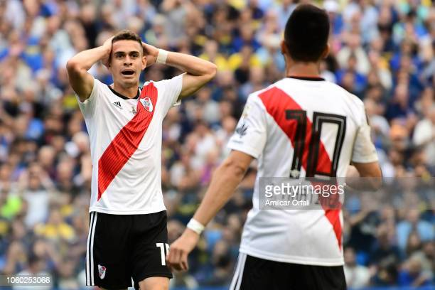 Rafael Santos Borre of River Plate reacts during the first leg match between Boca Juniors and River Plate as part of the Finals of Copa CONMEBOL...