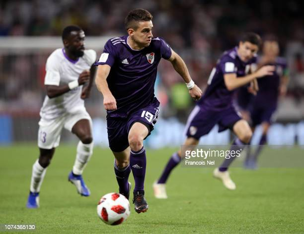 Rafael Santos Borre of River Plate runs with the ball during the FIFA Club World Cup UAE 2018 Semi Final Match between River Plate and Al Ain at...