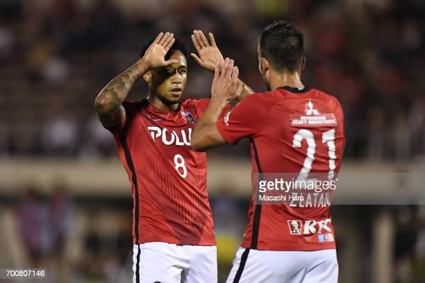 Rafael Silva and Zlatan of Urawa Red Diamonds celebrate the second goal during the 97th Emperor's Cup second round match between Urawa Red Diamonds...