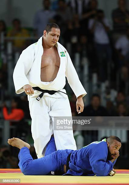 Rafael Silva of Brazil competes against Roy Meyer of Netherlands during the Men's 100kg Judo contest on Day 7 of the Rio 2016 Olympic Games at...
