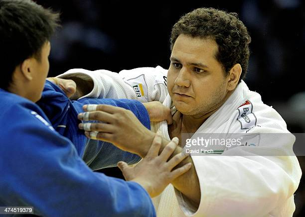 Rafael Silva of Brazil defeated Hisayoshi Harasawa of Japan for the over 100kg bronze medal during the Dusseldorf Grand Prix on February 23 2014 at...