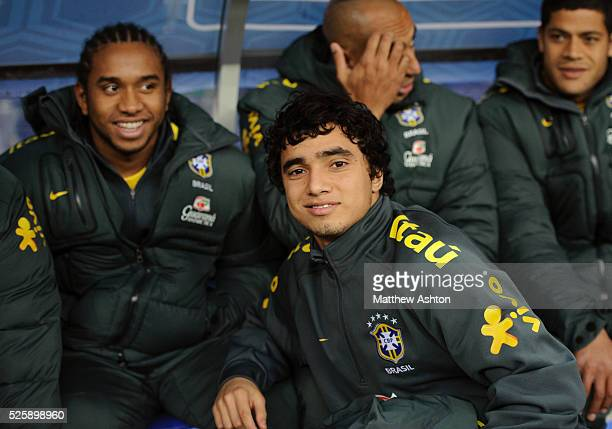 Rafael Silva of Brazil with Manchester United team mate Anderson
