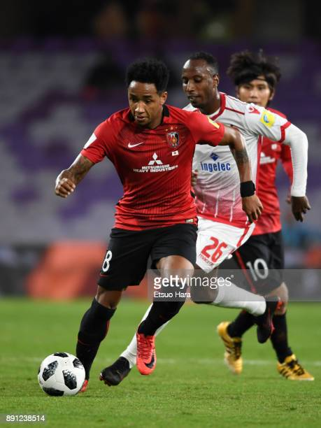 Rafael Silva of Urawa Red Diamonds and Abdeladim Khadrouf of Wydad Casablanca compete for the ball during the FIFA Club World Cup UAE 2017 Match for...