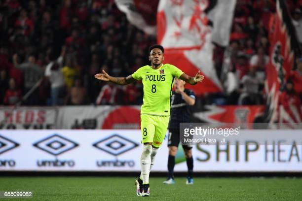 Rafael Silva of Urawa Red Diamonds celebrates scoring his side's first goal from the penalty spot during the JLeague J1 match between Gamba Osaka and...