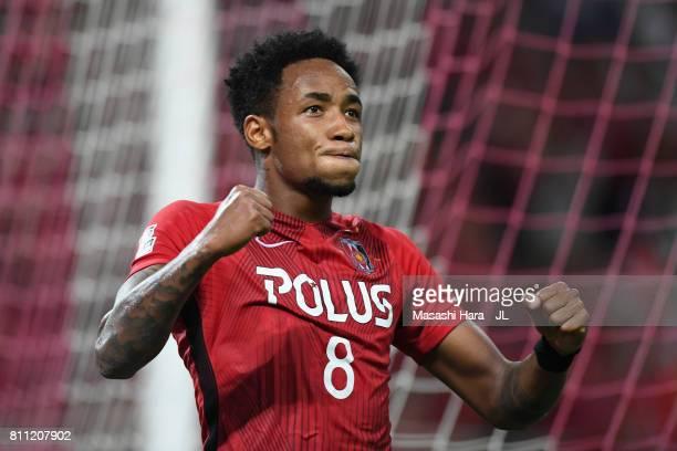 Rafael Silva of Urawa Red Diamonds celebrates scoring his side's second goal during the JLeague J1 match between Urawa Red Diamonds and Albirex...