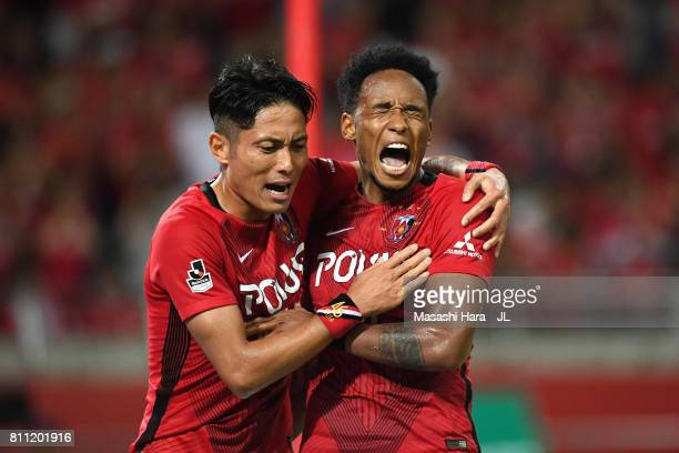 Rafael Silva of Urawa Red Diamonds celebrates scoring his team's second goal with his team mate Ryota Moriwaki during the JLeague J1 match between...