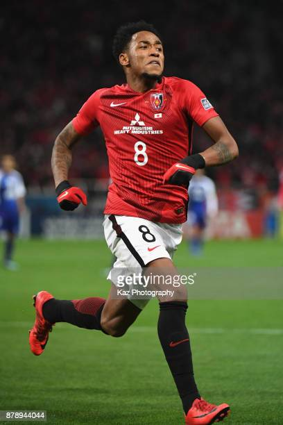 Rafael Silva of Urawa Red Diamonds celebrates scoring the opening goal during the AFC Champions League Final second leg match between Urawa Red...