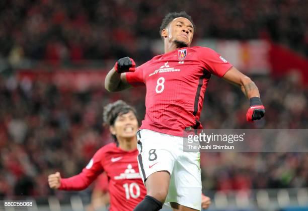Rafael Silva of Urawa Red Diamonds celebrates scoring the opening goal during the AFC Champions League Final second leg match between Urawa Red...