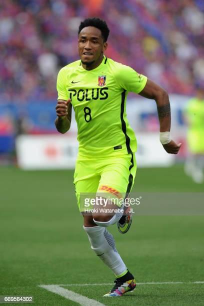 Rafael Silva of Urawa Red Diamonds in action during the J.League J1 match between FC Tokyo and Urawa Red Diamonds at Ajinomoto Stadium on April 16,...