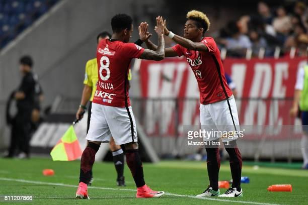Rafael Silva of Urawa Red Diamonds is replaced by Ado Onaiwu during the JLeague J1 match between Urawa Red Diamonds and Albirex Niigata at Saitama...