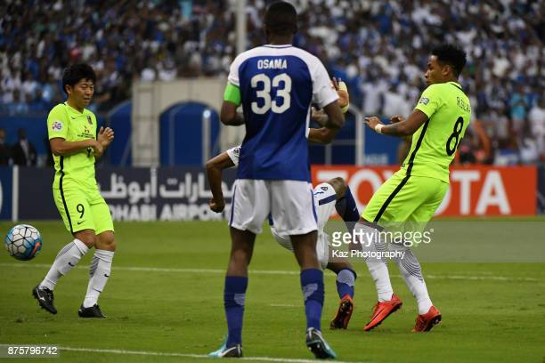 Rafael Silva of Urawa Red Diamonds scores the opening goal during the AFC Champions League Final 2017 first leg between Al-Hilal and Urawa Red...