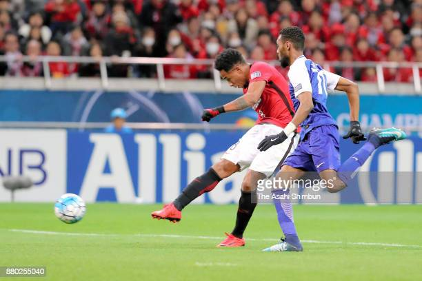 Rafael Silva of Urawa Red Diamonds scores the opening goal during the AFC Champions League Final second leg match between Urawa Red Diamonds and...