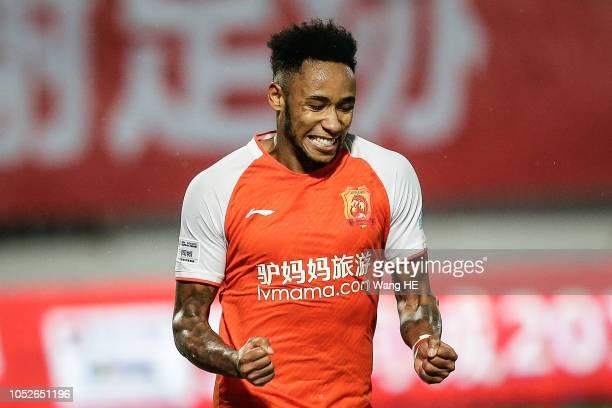 Rafael Silva#9 of Wuhan Zall celebrate the goal during the 2018 Chinese League match between Wuhan Zall v Meizhou Hakka at Zhongnan University Of...