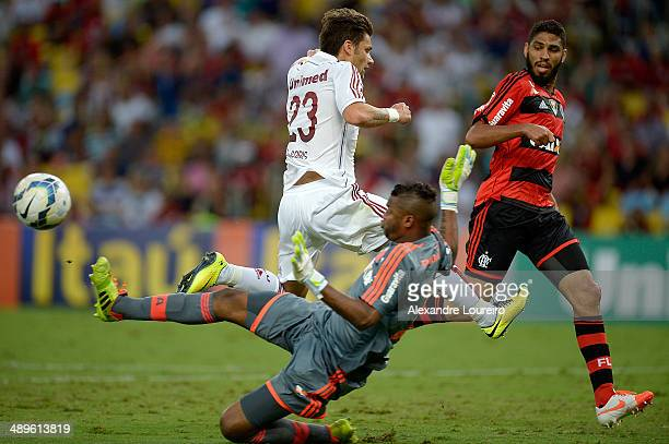 Rafael Sobis of Fluminense battles for the ball with Felipe of Flamengo during the match between Fluminense and Flamengo as part of Brasileirao...