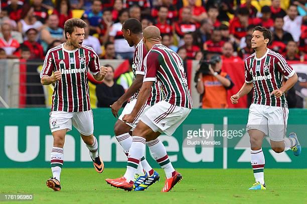 Rafael Sobis of Fluminense celebrates a scored goal against Flamengo during a match between Fluminense and Flamengo as part of Brazilian Championship...