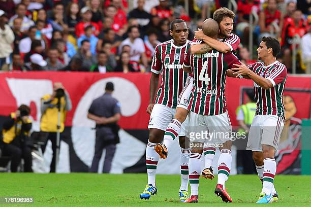 Rafael Sobis of Fluminense celebrates a scored goal against Flamengo during a match between Fluminense and Flamengo as part of Brazilian Championship...