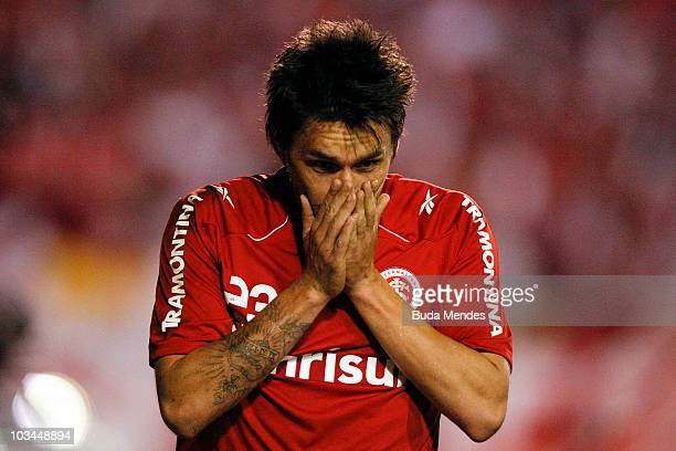 Rafael Sobis of Internacional celebrates a scored goal against Chivas during a match as part of the 2010 Copa Santander Libertadores at Beira Rio...