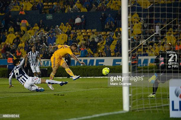 Rafael Sobis of Tigres scores his team's first goal during a match between Tigres UANL and Pachuca as part of 10th round Clausura 2015 Liga MX at...