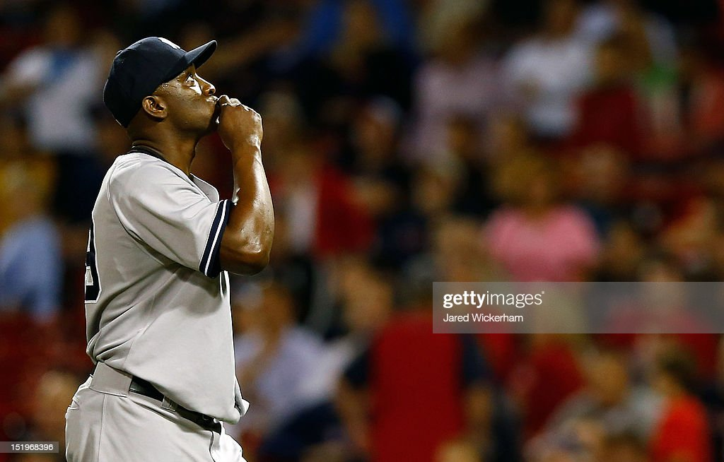 Rafael Soriano #29 of the New York Yankees celebrates following their win against the Boston Red Sox during the game on September 13, 2012 at Fenway Park in Boston, Massachusetts.