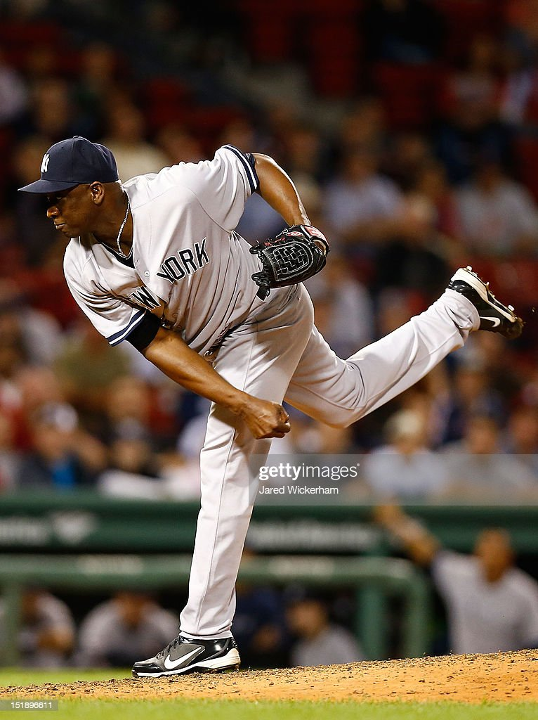 Rafael Soriano #29 of the New York Yankees pitches against the Boston Red Sox during the game on September 12, 2012 at Fenway Park in Boston, Massachusetts.