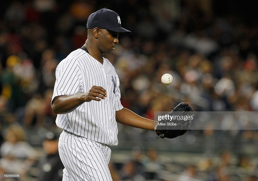 Rafael Soriano #29 of the New York Yankees reacts after giving up a game tying home run to Brandon Moss of the Oakland Athletics in the bottom of the ninth inning at Yankee Stadium on September 21, 2012 in the Bronx borough of New York City.