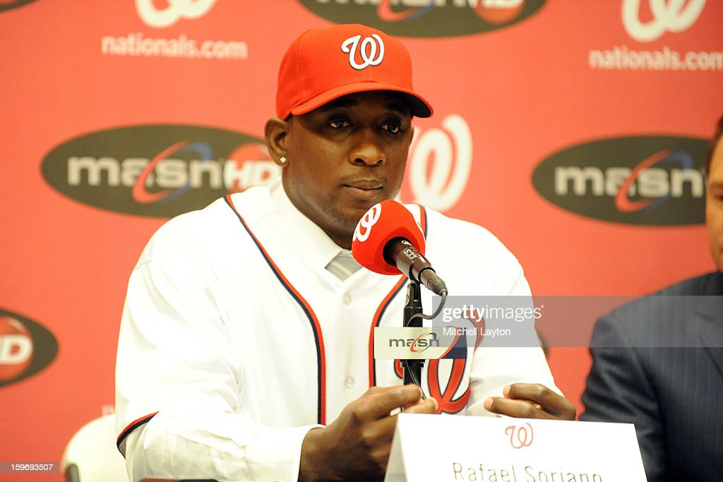 Rafael Soriano of the Washington Nationals looks on during his introduction press conference on January 17, 2013 at Nationals Park in Washington, DC.