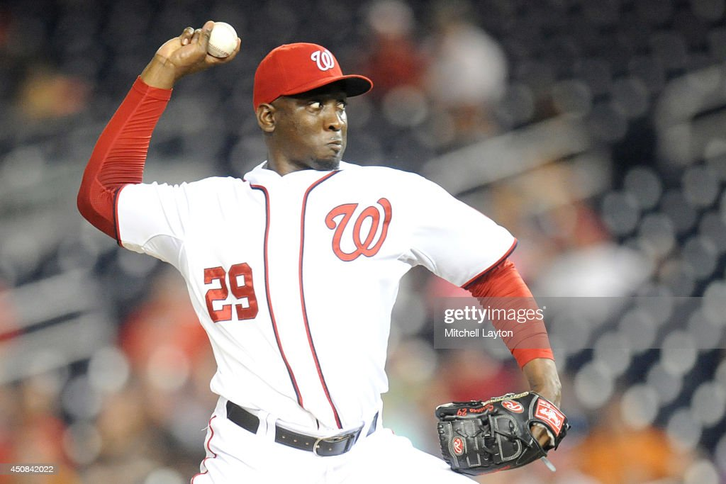 Rafael Soriano #29 of the Washington Nationals pitches in the ninth inning to get his 15th save of the year during a baseball game against the Houston Astros on June 18, 2014 at Nationals Park in Washington, DC. The Nationals won 6-5.