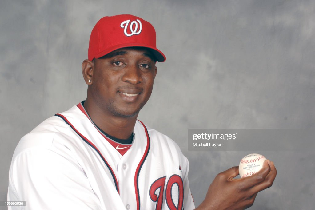 Rafael Soriano of the Washington Nationals poses for a photo during his introduction press conference on January 17, 2013 at Nationals Park in Washington, DC.