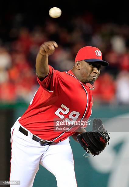 Rafael Soriano of the Washington Nationals throws a pitch in the sixteenth inning against the San Francisco Giants during Game Two of the National...