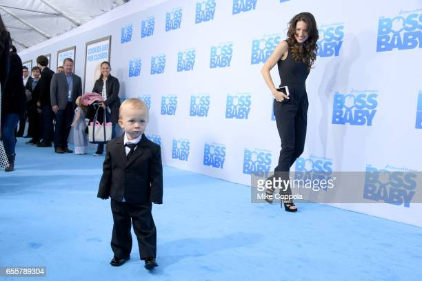 Rafael Thomas Baldwin and Hilaria Baldwin attend 'The Boss Baby' New York Premiere at AMC Loews Lincoln Square 13 theater on March 20 2017 in New...