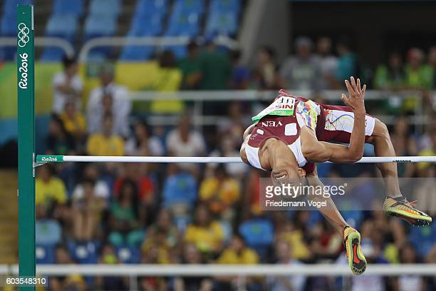 Rafael Uribe of Venezuela in the Men's High Jump T44 Final on day 5 of the Rio 2016 Paralympic Games at the Olympic Stadium on September 12 2016 in...