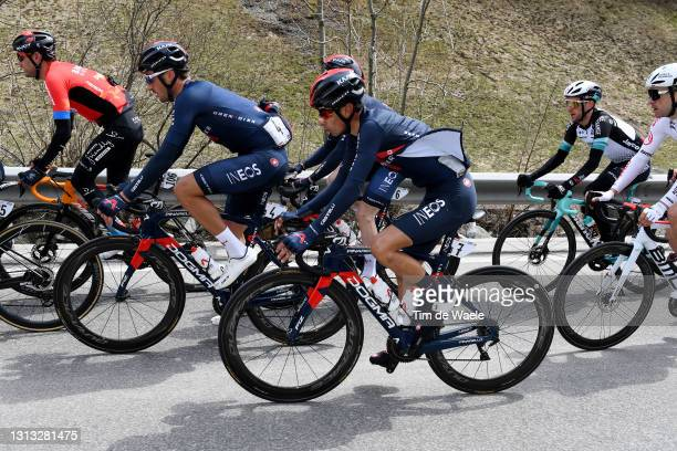 Rafael Valls of Spain and Team Bahrain Victorious, Gianni Moscon of Italy and Team INEOS Grenadiers, Ivan Ramiro Sosa Cuervo of Colombia and Team...