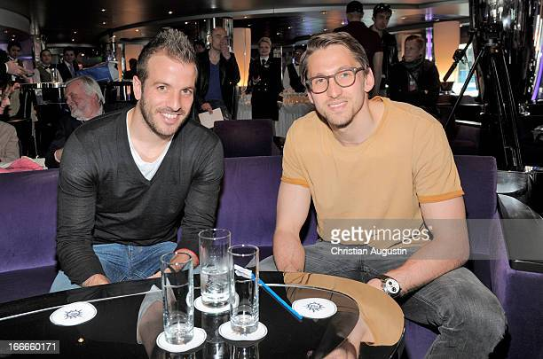Rafael van der Vaart and Rene Adler attend a press conference of MSC Magnifica Season Opening on board the MSC Magnifica on April 15 2013 in Hamburg...