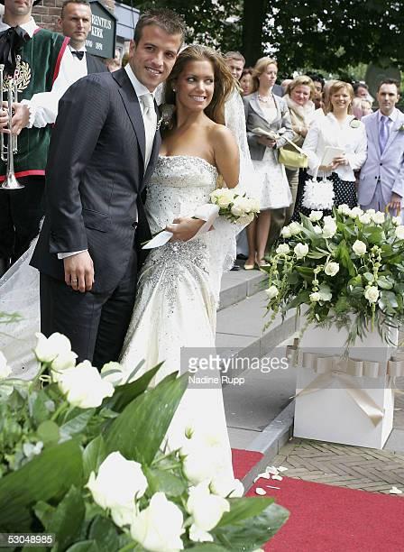 Rafael van der Vaart and Sylvie Meiss pose during their wedding ceremony on June 10, 2005 in Heemskerk, Netherlands.