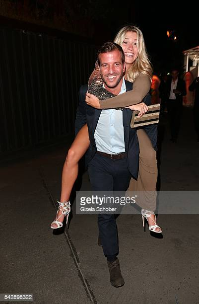 Rafael van der Vaart carries his girlfriend Estavana Polman during the Raffaello Summer Day 2016 to celebrate the 26th anniversary of Raffaello on...