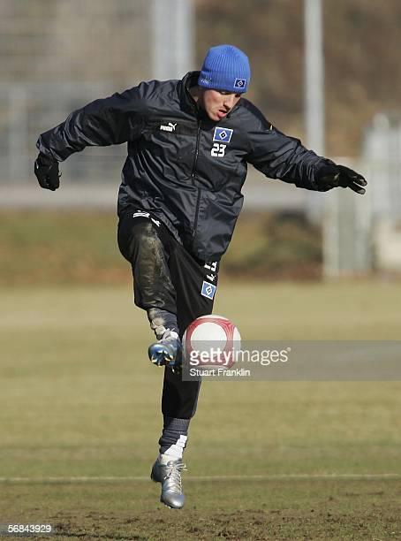 Rafael van der Vaart in action during the Hamburger SV training session on February 14 2006 in Hamburg Germany