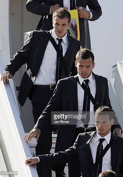 Rafael van der Vaart John Heitinga and Wesley Sneijder of the Netherlands arrive at the Black Forest Airport June 6 2006 in Lahr Germany The...