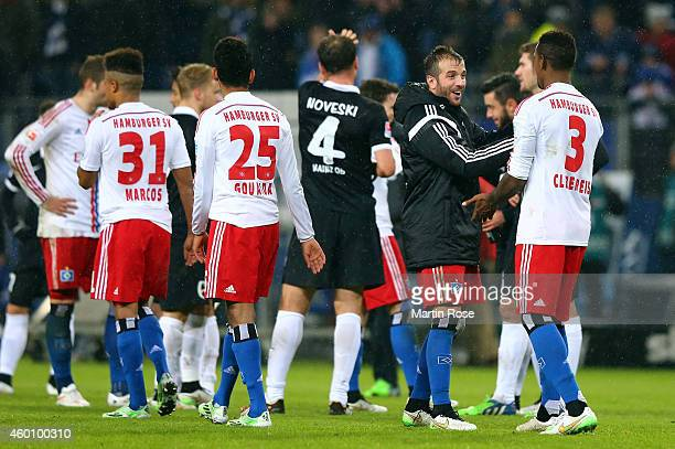 Rafael van der Vaart of Hamburg celebrate with team mate Cleber Reis after the Bundesliga match between Hamburger SV and 1 FSV Mainz 05 at Imtech...