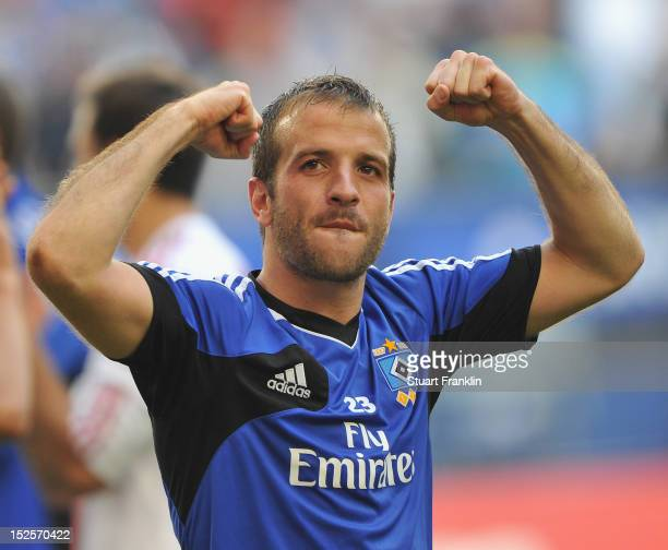 Rafael Van Der Vaart of Hamburg celebrates at the end of the Bundesliga match between Hamburger SV and Borussia Dortmund at Imtech Arena on September...